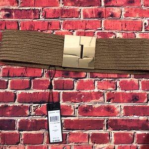 NWT BCBGMaxAzria tan stretchy belt w/ gold buckle